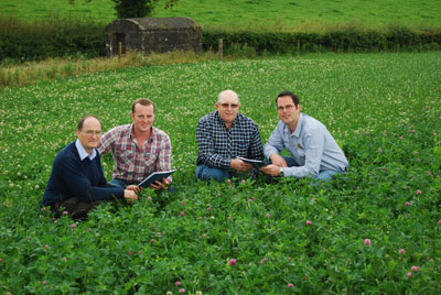 Pictured at the Handover of Final Report on Low Input Forages to AgriSearch were from left: Scott Laidlaw (AFBI, Crossnacreevy), Roger McCracken (AgriSearch Dairy Committee), Harper Doupe (AgriSearch Dairy Committee) and Andrew Dale (AFBI, Hillsborough)